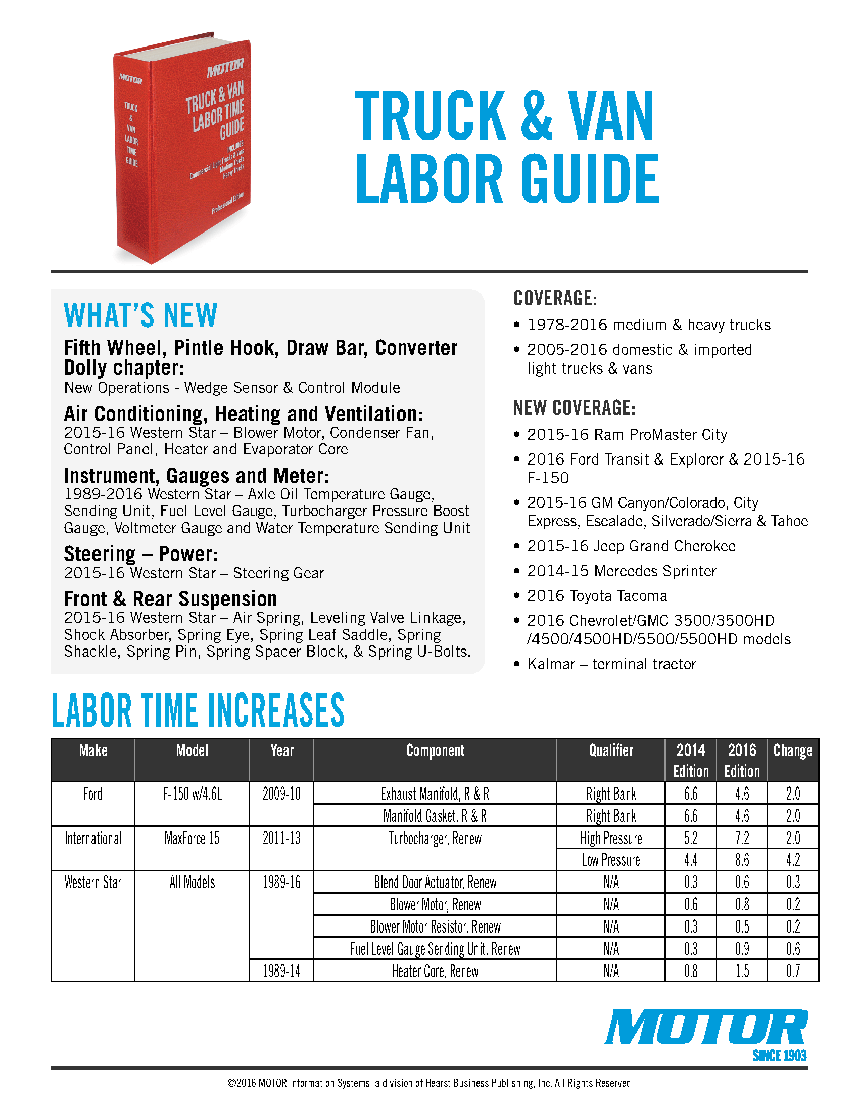 Motor Truck  U0026 Van Labor Time Guide